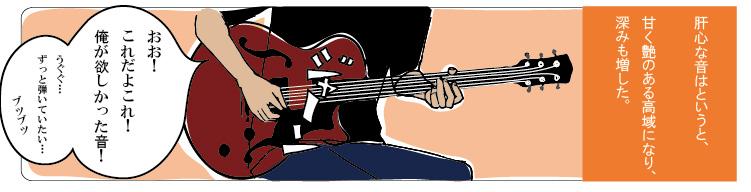 アンプの真空管を差し換えた後、ギター演奏を試す。「高音が出なくなった」ことを実感。驚くと同時に、「欲しかった音になった」と大喜び。